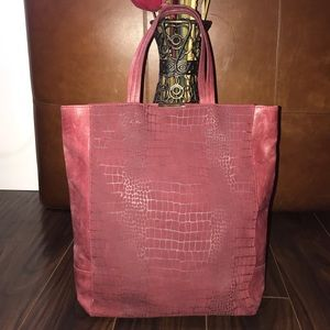 KELSI DAGGER Maroon Suede & Leather Tote Bag